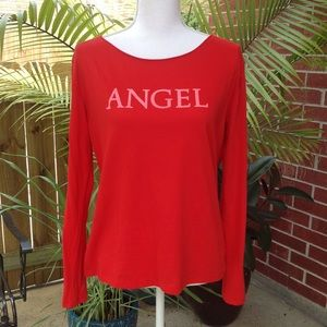 """NWOT Victoria's red """"Angel"""" long sleeve shirt 👚 M"""